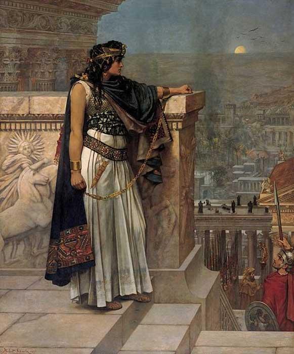 Yunan kökenli Palmira İmparatorluğu'nun kraliçesi Zenobia'nın Palmira'ya son bakışı, ressam Herbert Schmalz.