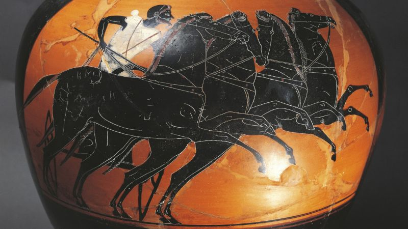 Bir araba yarışını gösteren MÖ 525 yılına ait Yunan çömleği.