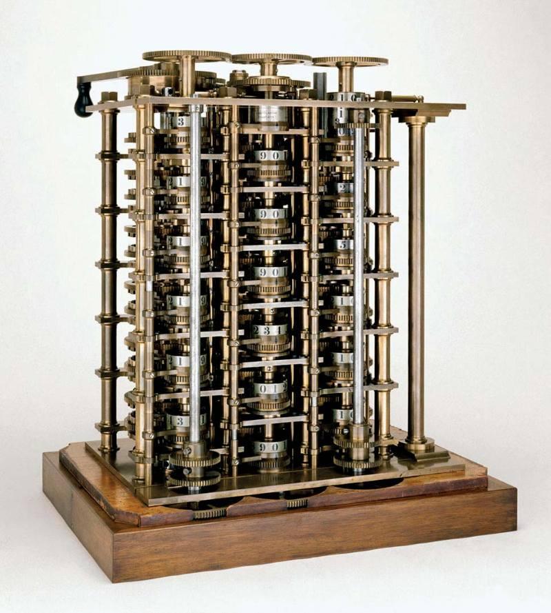 Makinenin tamamlanan ilk kısmı (1832). Tüm cihazın yapılış amacı denizcilikte kullanılan logaritma tablolarını üretmekti.