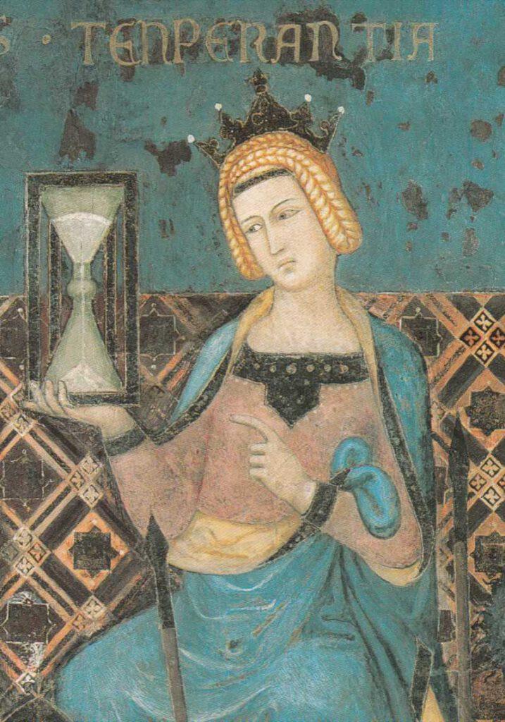 """İtalyan ressam Ambrogio Lorenzetti'nin """"İyi ve Kötü Yönetimin Alegorisi"""" isimli resmine ait tarihteki en eski kum saati çizimi, 1338. Üstte """"Uyum"""" anlamına gelen Latince bir sözcük yer alıyor."""