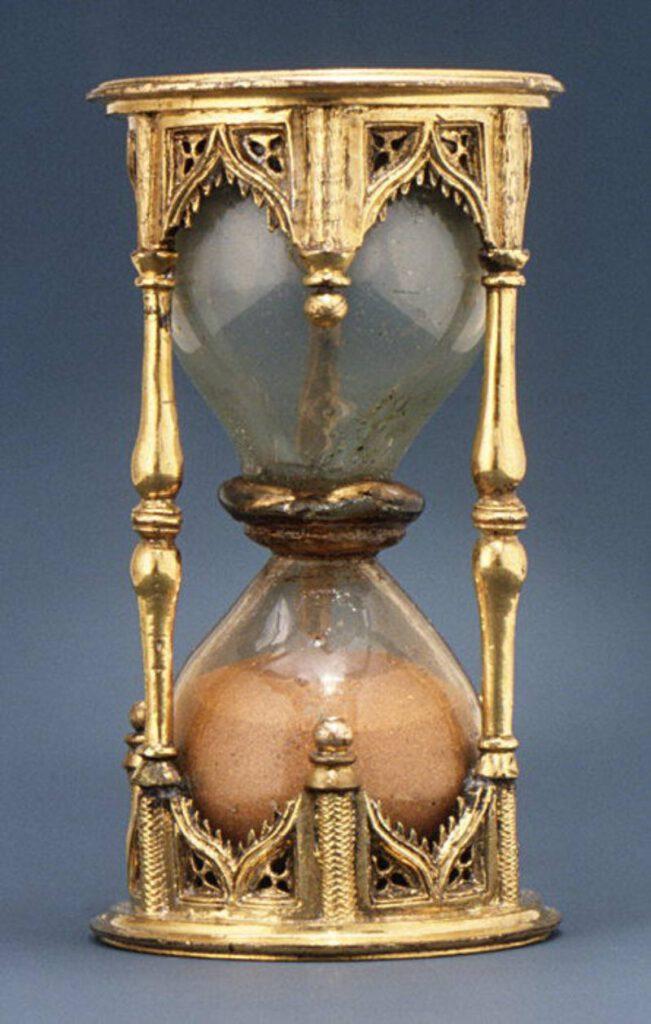 Tunç ve gümüş yaldızlı 16. yüzyıla ait Alman yapımı 30 dakikalık bir kum saati.