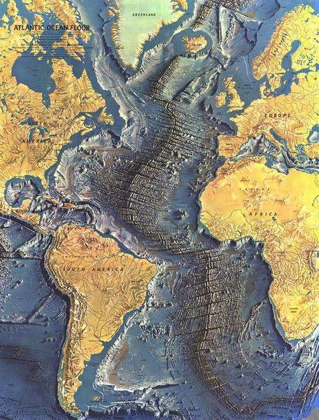 Atlas Okyanusu'nun tabanını gösteren bir harita.