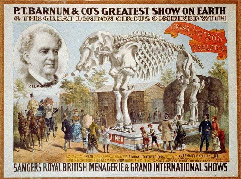 """P. T. Barnum için bir reklam. Barnum'un """"Dünyadaki En Harika Gösterisi""""."""