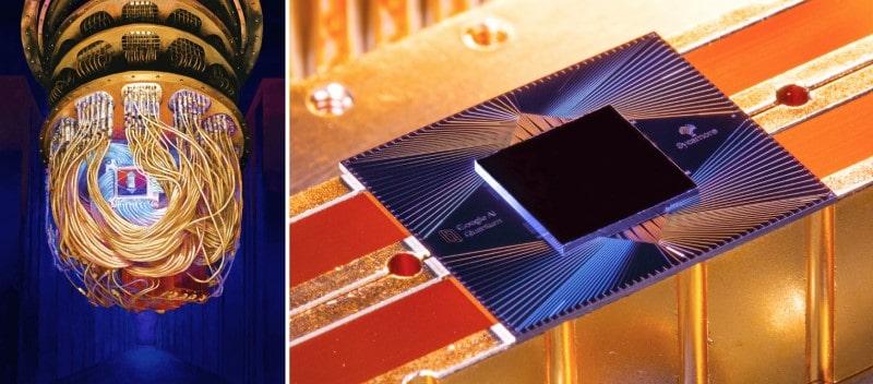 Google'ın kuantum bilgisayarı ve Sycamore kuantum çipi.