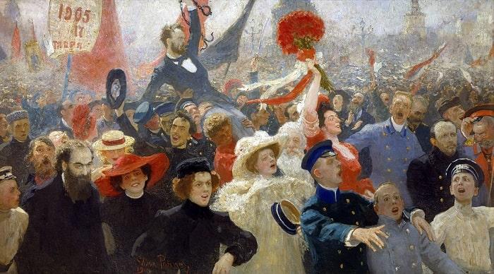 """""""Demonstration on October 17, 1905,"""" Ressam: Ilya Repin"""