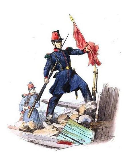 Fransız Ulusal Muhafız askeri, 1848 Devrimi sırasında bir kırmızı pankartı indiriyor