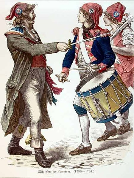 Frig şapkal ve üç renkli rozet takan Fransız devrimciler