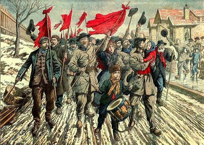 Pas-de-Calais'te grev yürüyüşü yapan isyancı madencilerin / Le Petit Journal