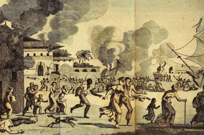 Haiti Devrimi'nin bir temsili. Ayaklanan köleler sonunda bağımsızlığı kazanır.