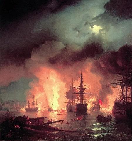 1770 yılında Chesme Savaşı.