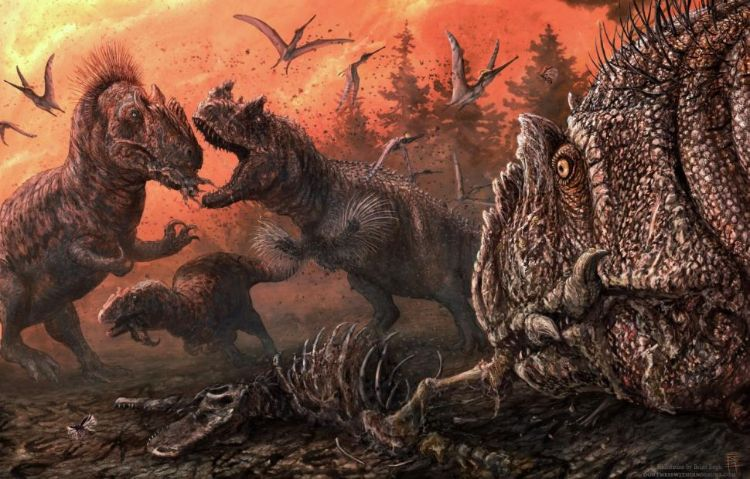Kaoslu bir geç Jura ekosisteminde teropodlar.