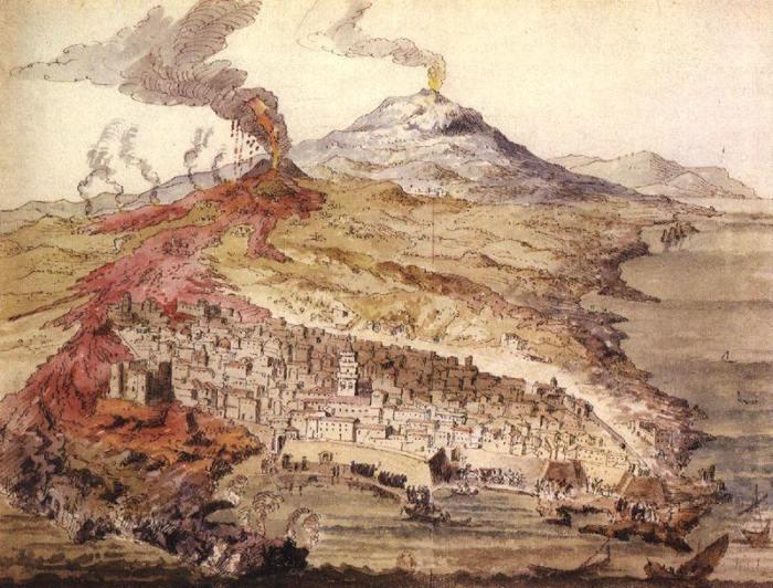 Etna Dağı'nın 1669 patlaması sırasında lavlar Katanya surlarını aştı.
