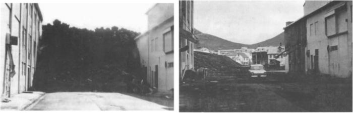 Soldaki görüntü Vestmannaey'deki iki fabrika arasında biriken lavları gösteriyor.