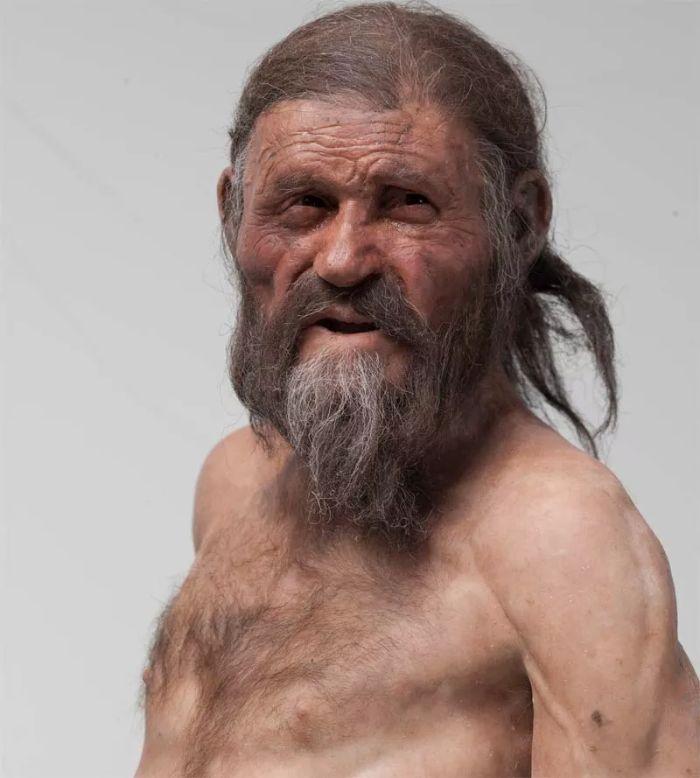 Buz Adam Ötzi'nin yüz rekonstrüksiyonu.