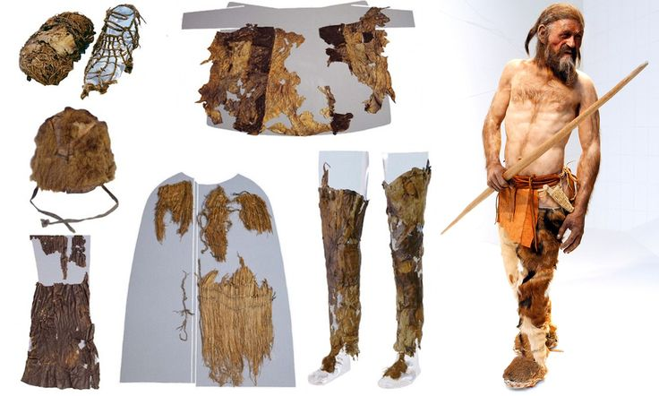 Bir pelerin ve torba dahil Ötzi'nin giysileri ve yeniden oluşturulmuş hali.