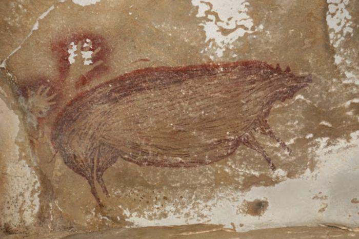 Endonezya, Sulawesi'de Leang Tedongnge mağarasındaki 45.500 yıllık Sulawesi yaban domuzu figürü.
