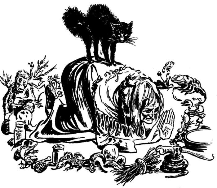 Bir cadı ve siyah kedisi. Kaynak Weird Tales, Cilt 36.