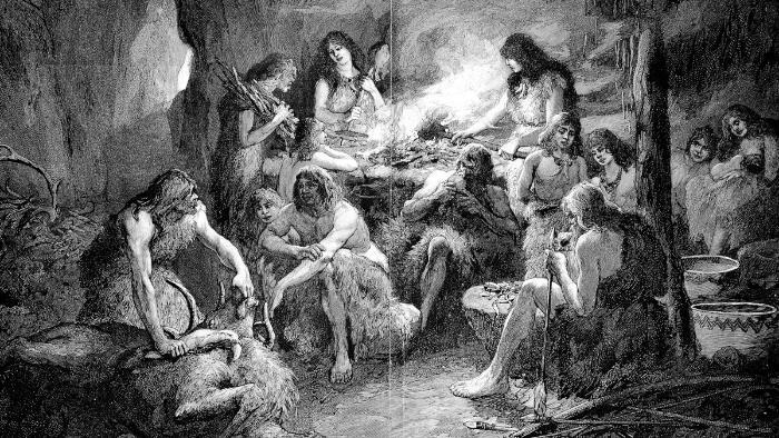 Taş Çağ'ında tarih öncesi insanların ev yaşamı.